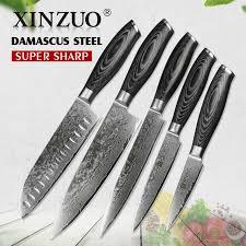 vg10 kitchen knives xinzuo 5pcs kitchen knives set 67 layer japanese vg10 damascus steel
