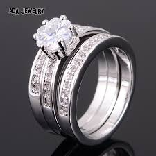 wedding rings online 3 circles high quality eternal flower cz diamond ring set
