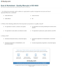 quiz u0026 worksheet quality manuals in iso 9000 study com