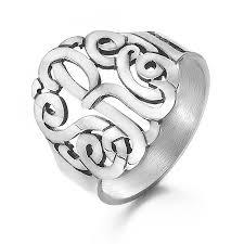 monogram ring silver silver custom 3 initial monogram ring s addiction