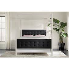 stunning 70 modern canopy decorating inspiration of best 25 dhp soho modern canopy bed white metal with black linen queen