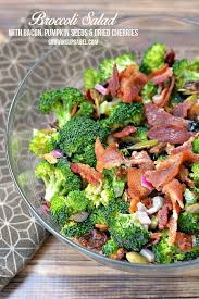 bacon sunflower seeds broccoli salad recipe with bacon pumpkin seeds and dried cherries