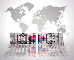 World Map Korea Word South Korea With South Korean Flag On A World Map Background