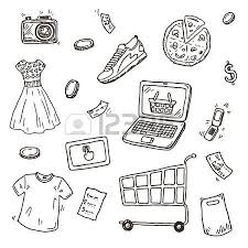 hand drawn sketch set e commerce online shopping doodle icons