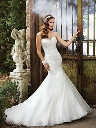sweetheart chapel train organza trumpet mermaid wedding dress1