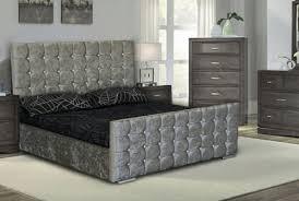 Velvet Bed Frame From 180 00 Kingsize Cubed Upholstered Crushed Velvet Bed