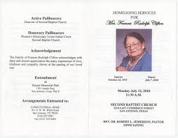Programs For Funeral Services Funeral Program For Frances Rudolph Clifton July 12 2010 Page