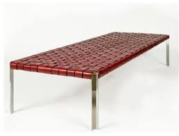 Contemporary Upholstered Bench Tg 18 Woven Leather Bench Contemporary Upholstered Benches Modern