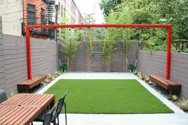 decorating small backyard ideas with backyard fence and built in