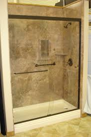 Bathtub Wall Panels Mocha Travertine With Oil Rubbed Bronze Shower Door Oasis Shower