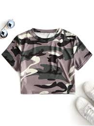 army pattern crop top cutout camouflage cropped top army green tees l zaful