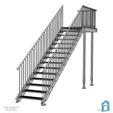 platzbedarf treppe stahltreppe aufgang mit podest vorbau und geländersicherung