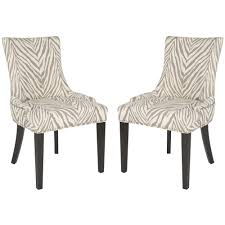 safavieh lester grey zebra dining chairs set of 2 overstock