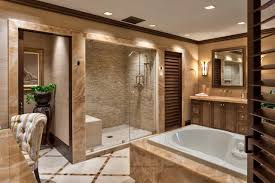 bathroom with large shower and tub plus marble tile and