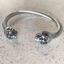 skull bangle bracelet images Silver punk skull stainless steel gothic bracelet unisex heavage jpg
