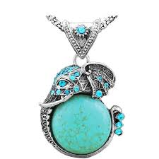 turquoise gem necklace images Turquoise stone curled elephant trunk pendant necklace quiet or loud jpg