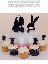 wedding cake topper alice in wonderland silhouettes lasered