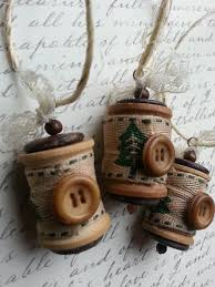 ornament vintage wooden spools by freetobecreations