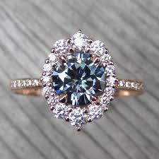 moissanite vintage engagement rings grey moissanite engagement ring with halo pavé band