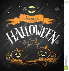 chalk drawing of halloween postcard stock vector image 77294352