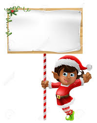 cartoon woman or christmas elf in santa christmas hat holding