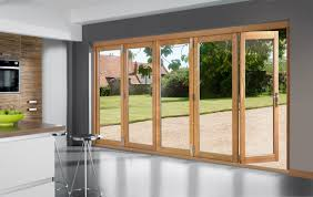 Exterior Doors Bi Fold Glass Exterior Doors With Wooden Frame For Large Kitchen