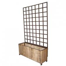 Wooden Planter With Trellis Rectangular Wooden Trellis Planter