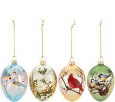 david dangle home collection s 4 birds in the snow glass egg