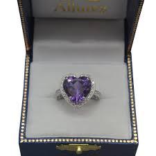 large amethyst diamond white gold shaped amethyst u0026 diamond ring halo 14k white gold 5 41ct