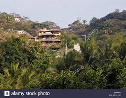 Beautiful Mountain Houses Beautiful Mountain Homes High Above Sayulita Mexico Stock Photo