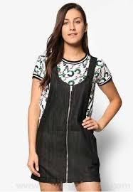 penshoppe front zip denim jumper dress pe124aa55squmy black