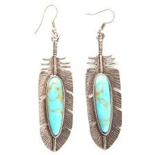 silver feather earrings loulabelle silver feather turquoise earrings