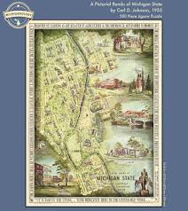 Michigan State University Map by A Pictorial Rendu Of Michigan State 1955 Puzzle U2013 Michiganology