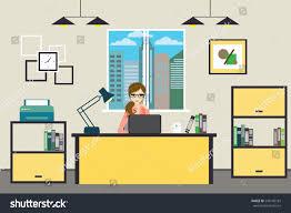 cartoon business woman working home modern stock vector 549140182