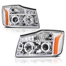 nissan headlights 04 14 nissan titan 04 07 armada angel eye halo u0026 led projector