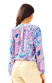 lilly pulitzer elsa silk top drop me a lime in blue lyst