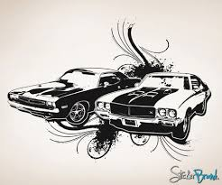 vinyl wall decal sticker 70s american muscle cars osaa124b zoom