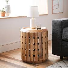 Drum Side Table Tv Area In Basement Pierced Wood Drum Side Table West Elm 現代