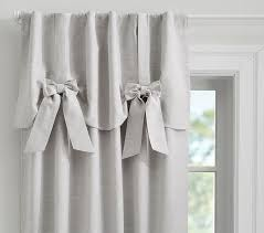 Curtain For Girls Room Evelyn Linen Blend Bow Valance Blackout Panel Pottery Barn Kids