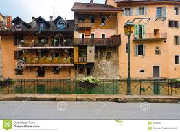European Houses Old European Canal Houses Salmon Color Royalty Free Stock Images