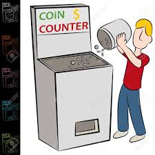 an image of a man using a coin counting machine royalty free