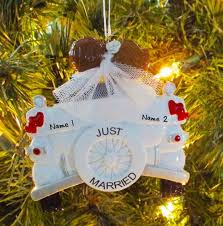 personalized christmas ornaments wedding personalized vintage just married wedding christmas tree ornament