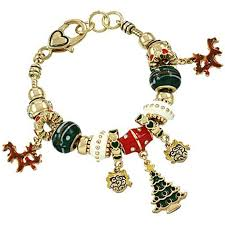 gold charm bracelet beads images Christmas theme pandora inspired charm bracelet gold plated jpg