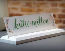 Desk Name Plates With Business Card Holder Name Plate Etsy