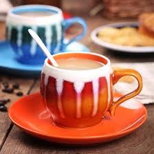 hand painted porcelain delicate stripes pattern tea coffee mug set