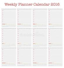 printable january 2016 weekly planner calendar for 2016 weekly planner for year 2016 stock vector
