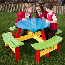 Kids Wooden Picnic Table Painted Kids Wood Round Picnic Table For Children Aged 5 9 Years