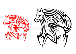 tribal horse tattoo stock vector image of abstract animal 35283088