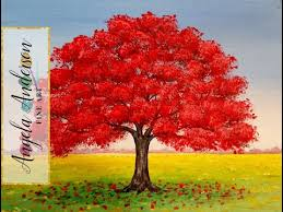 how to paint red oak tree fall landscape full length live