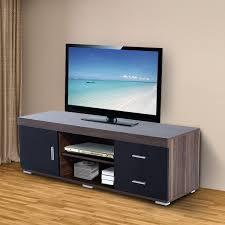 Media Center Furniture by Homcom Tv Stand 140lx40wx45h Cm Black Walnut Aosom Co Uk